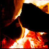 Fire burning. In the stove, shot from close Royalty Free Stock Photos