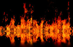 Fire Burning on Water. Wall of fire burning over water pool Royalty Free Stock Photos