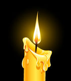 Fire of burning wax candle. Vector illustration on black background Stock Photos