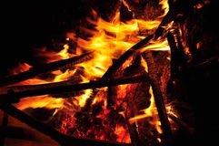 Fire Burning Wood Royalty Free Stock Images