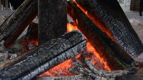 The fire of burning wood. Fire: burning wood and smoldering embers stock video