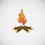 Fire, burning on the wood. Vector design.  Stock Photos