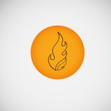 Fire, burning on the wood. Vector design.  Royalty Free Stock Image