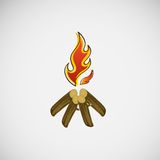 Fire, burning on the wood. Vector design.  Royalty Free Stock Photo