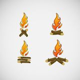 Fire, burning on the wood. Vector design.  Royalty Free Stock Images