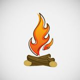 Fire, burning on the wood. Vector design.  Stock Image