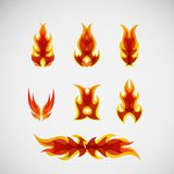 Fire, burning on the wood. Vector design.  Stock Photo