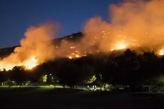 Hill on Fire just above Neighborhood Park during California Brushfire. Fire burns above suburban park at night during California Woolsey Fire royalty free stock photos