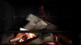 Fire burns in the fireplace in slow motion stock video footage