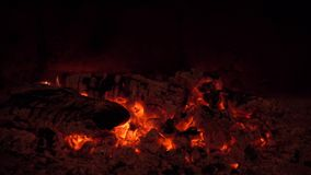 A fire burns in a fireplace, fire to keep warm stock video