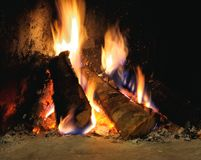 Fire burns in the furnace Royalty Free Stock Images