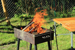 Fire burns in the grill Stock Image