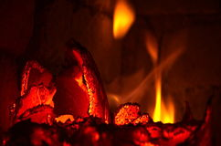 Fire burns Stock Images
