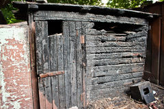 Fire burnt barn Stock Photo