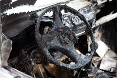 Fire burnt car vehicle Stock Photography