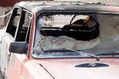 Fire burnt car vehicle Royalty Free Stock Photos