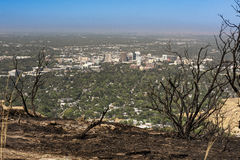 Fire burnt foot hills over Boise Idaho Royalty Free Stock Images