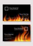 Fire business cards. Two designs of fire business card Royalty Free Stock Image