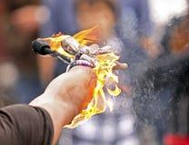 Free Fire Busker Juggle Arm Closeup Royalty Free Stock Image - 16058066