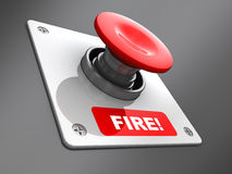 Fire button. Abstract 3d illustration of 'fire' button over gray metal background Stock Photo