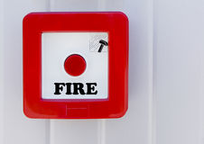 Fire button. On the wall Stock Photos