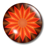 Fire Button Orb. An illustration of a bright orange and brown glass button with shadow Royalty Free Stock Photo