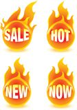 Fire buttons. Four fire buttons with text Stock Illustration