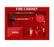 Fire cabinet. Firefighting set. Fire equipment. Fire cabinet. Firefighting set. Fire protection equipment. Vector illustration in flat style Stock Photo