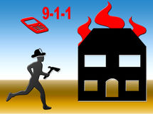 Fire Call. Graphic showing a fire fighter responding to a house fire Stock Images