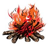Fire of campfire with firewoodŒ. Fire of campfire with firewood. Isolated on a white background Royalty Free Stock Photo
