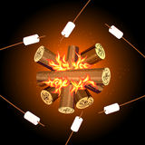 Fire camping marshmallows, top view marshmallow bonfire. Marshmallow on bonfire, campfire outdoor, food marshmallow stick, vector illustration Stock Photos