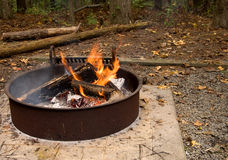 Fire in campsite Royalty Free Stock Photos