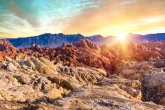 Fire Canyon in Valley of Fire Sate Park royalty free stock image