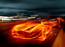 Fire car. Сar races on the night streets Royalty Free Stock Images
