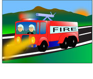 Fire car. Red fire truck and firemen vector illustration