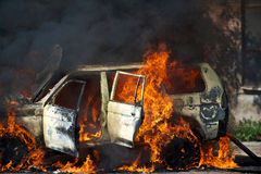 Fire car Royalty Free Stock Image