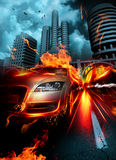 Fire car. The car rushes on streets of a night city Stock Photos