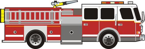 Fire car. Vector scene of the special car for fight with fire Stock Photo