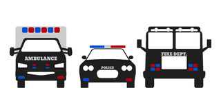 Fire car, Ambulance and Police car. Elements of the 911 emergency services. Vector Illustration Stock Images
