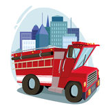 Fire car  art.  cityscape. against the backdrop of the city Royalty Free Stock Photos