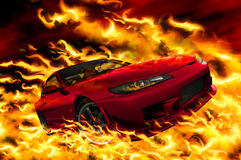 Fire car. On a black background Royalty Free Stock Photography