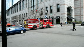 Fire-car, Boylston Street in Boston, USA,. BOSTON - APR 25: fire-car going to the fire-stop station at the Boylston Street in Boston, USA on April 25, 2016 stock video