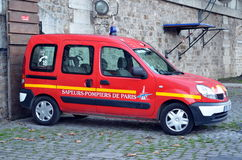 Fire car in Paris Royalty Free Stock Image