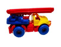 Fire-car toy. Isolated, clipping path for photoshop, with path, for designer Royalty Free Stock Photo