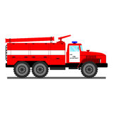 Fire car vector illustration. Fire truck isolated on white. Fire rescue truck. Vector rescue fire truck. Red fire rescue car with white stripe. Vector cartoon Stock Photography