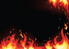 Fire cards set. Vector of fire flame background Stock Image
