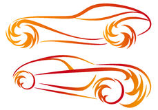Fire cars,. Sport car silhouettes with fire flames,  sketch Stock Images