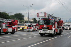 Fire cars at First Moscow Parade of City Transport Stock Images