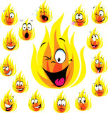Fire cartoon with many expressions. Isolated on white background Stock Photos