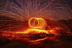 Fire. Cast fire-dancing art crect stock image